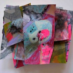 Mixed media collage on wooden panel
